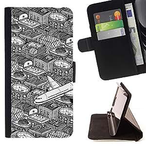 For LG G4 Case , City Vuelos Art Pen Blanco Negro- la tarjeta de Crédito Slots PU Funda de cuero Monedero caso cubierta de piel