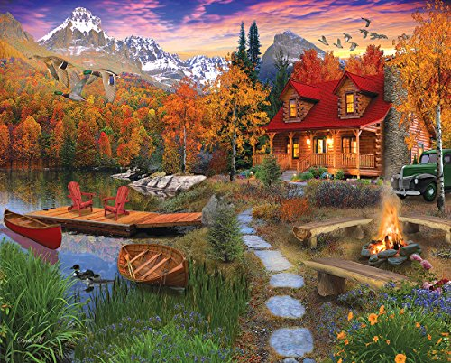 White Mountain New! Cozy Cabin - 1,000 Piece Jigsaw - Mountain Cabin Fall