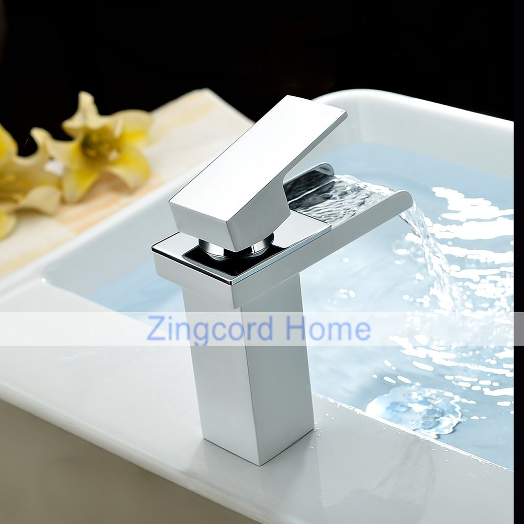 Zingcord Contemporary White Baking Finish Luxury Centerset Single Handle LED Color Change Waterfall Bathroom Sink Faucet by Zingcord (Image #5)