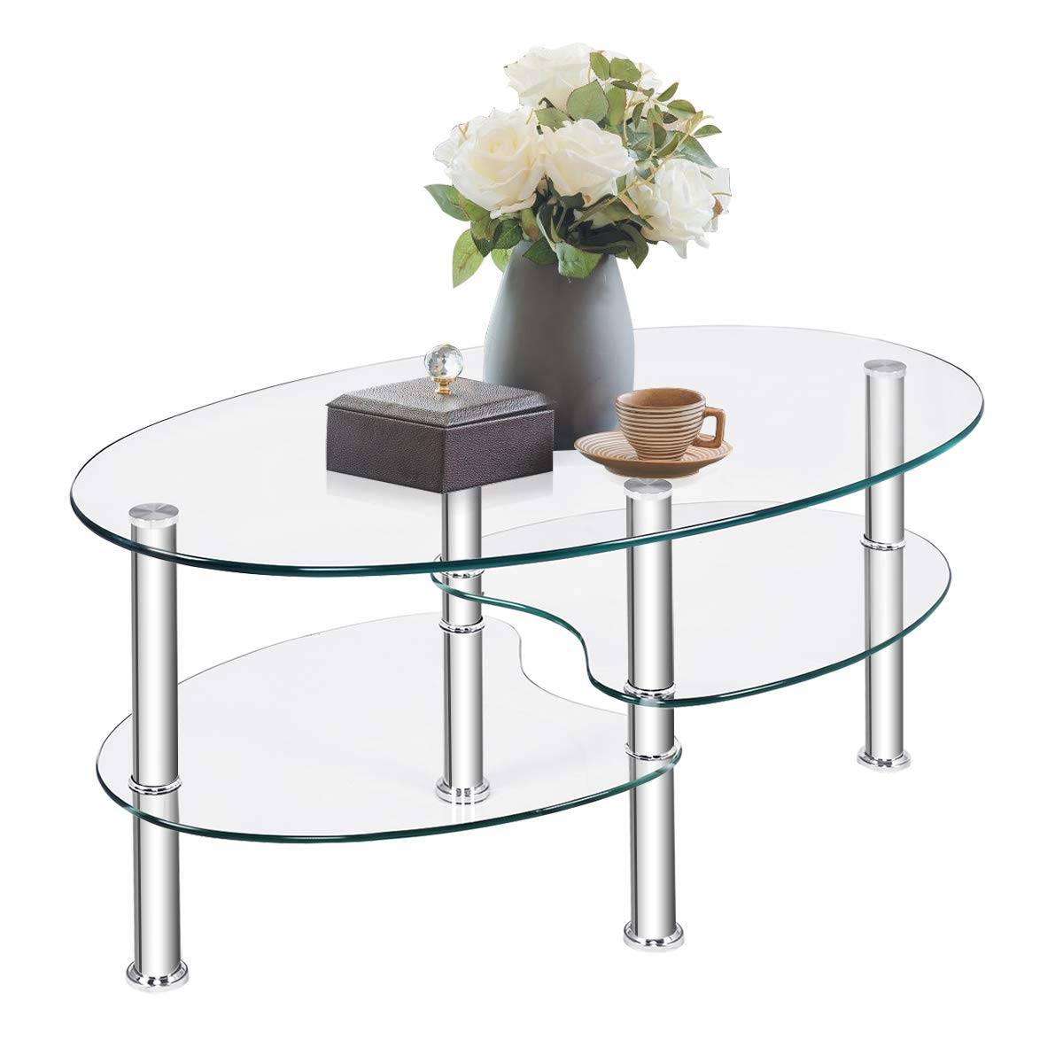 TANGKULA Glass Coffee Table, Modern Furniture Decor 2-Tier Modern Oval Smooth Glass Tea Table End Table for Home Office with 2 Tier Tempered Glass Boards & Sturdy Chrome Plated Legs by Tangkula