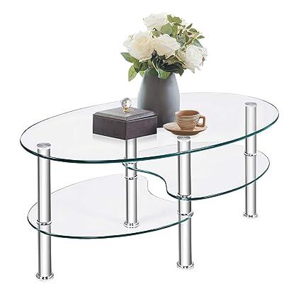 Amazon Com Tangkula Glass Coffee Table Modern Furniture Decor 2