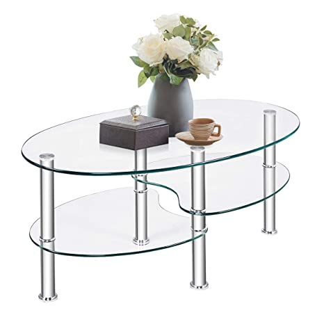 TANGKULA Glass Coffee Table, Modern Furniture Decor 2-Tier Modern Oval Smooth Glass Tea Table End Table for Home Office with 2 Tier Tempered Glass ...