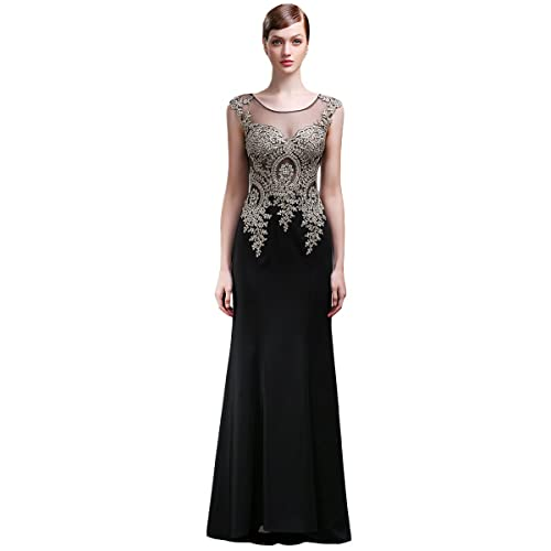 Lemai Jersey Black Crystals Gold Lace Sheer Mermaid Long Formal Evening Prom Dresses