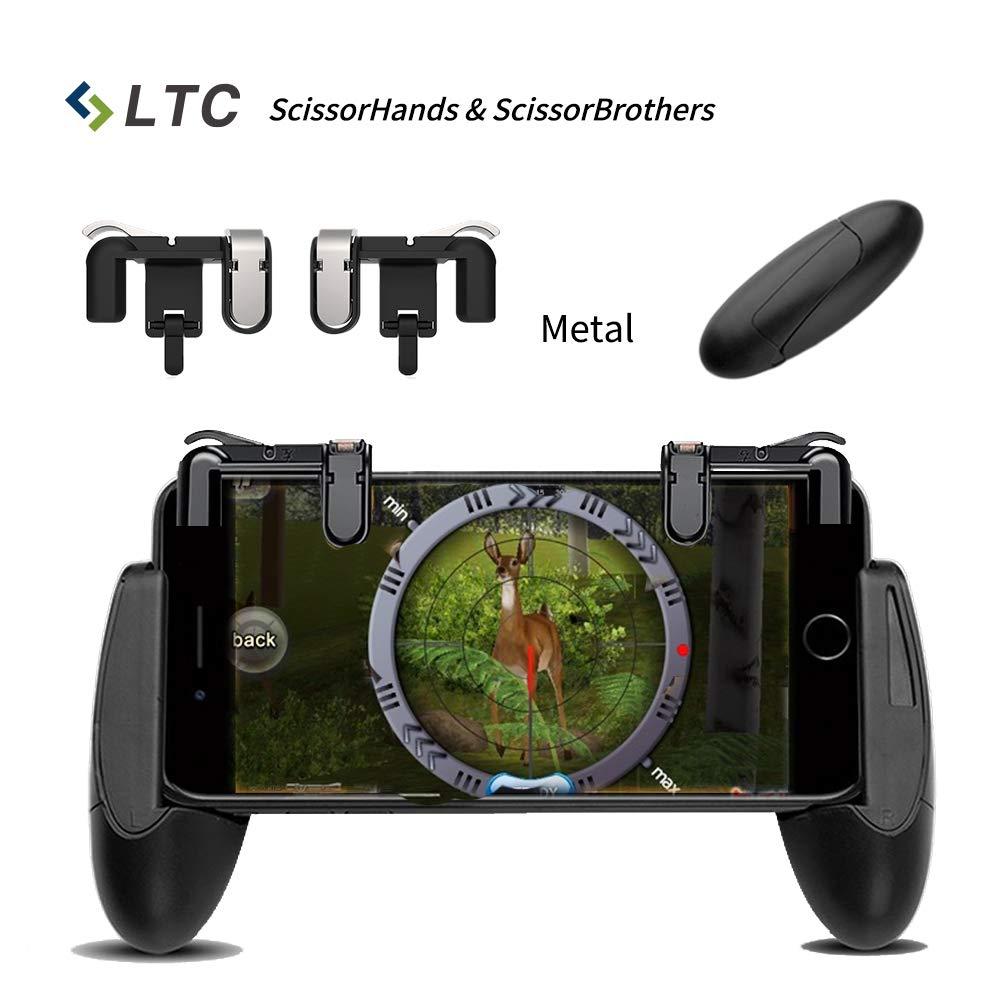 """LTC Scissor's Serie Mobile Game Controller Set, includere LTC """"ScissorHands"""" Metal Game Trigger M2 e LTC """"ScissorBrothers"""" Titolare del gioco H1, Compatibile con smartphone da 4,5'a 6,4' -Nero 5a 6 4 -Nero M2+H1"""