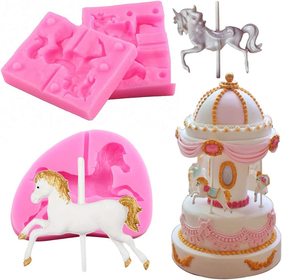 3 Pieces Carousel Horse Silicone Fondant Molds, 3D Merry-Go-Round Chocolate Lollipop Sugarcraft Gum Paste Mold for Boy Girl Baby Shower Carousel Party Cake Decorating Supplies Clay Resin Mould