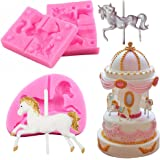 Cute Carousel Horse Silicone Cake Mould Cupcake Fondant Tool Fairground Fair LC