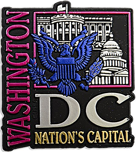 Rubber Magnet Large Washington DC Metallic - Washington Shopping Square