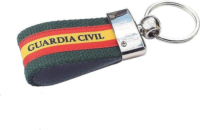 LGP - Llavero Bandera DE ESPAÑA de Lona Verde, Guardia Civil ...