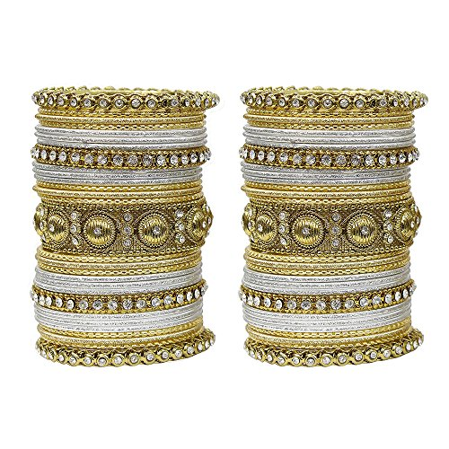 (MUCH-MORE Indian Traditional Amazing Collection Multi Color Bangles for Womens (Silver, 2.4))