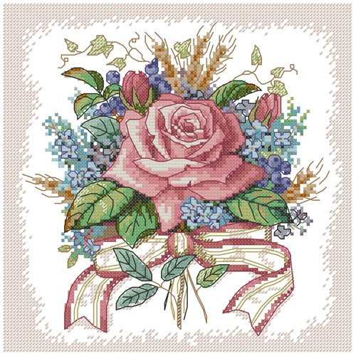 ITSTITCH Needlecrafts Stamped Cross Stitch Kits with Pre-printed Pattern A Bunch of Flowers (Frameless)