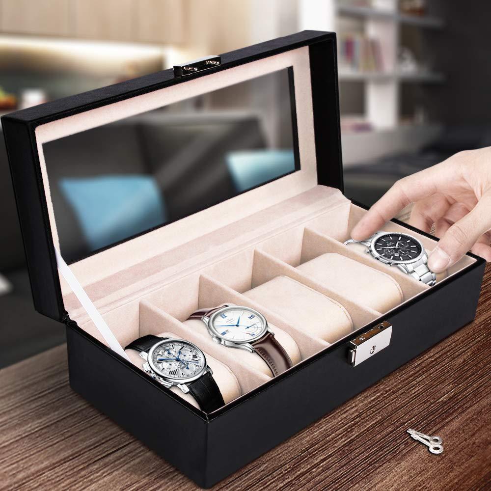 Jago Caja de Relojes con 5 Compartimentos, para Hombre/Mujer | 5 Cojine, 2 Llaves, Protección Óptima | Estuche de Relojes, Caja para 5 Relojes, ...