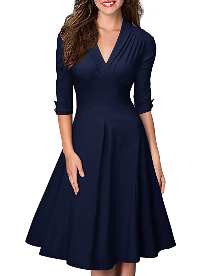 1940s Fashion Advice for Tall Women Miusol Womens Retro V Neck Vintage Style Cocktail Party Swing Dress $36.99 AT vintagedancer.com