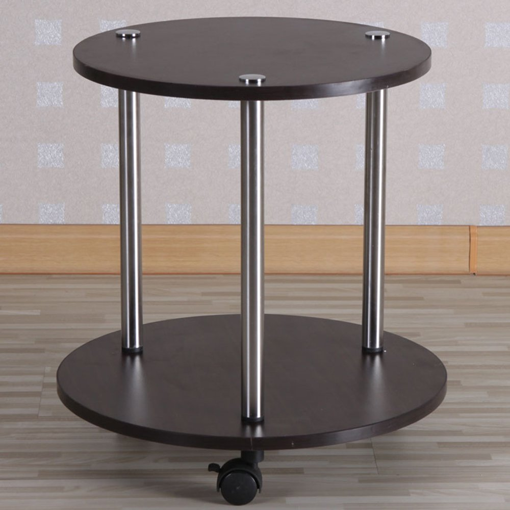 YNN リビングルーム小さな丸テーブルティーテーブル円形コーヒーテーブル移動テーブルバルコニーテーブルティーラック (色 : Black) B01LWC0EDQBlack