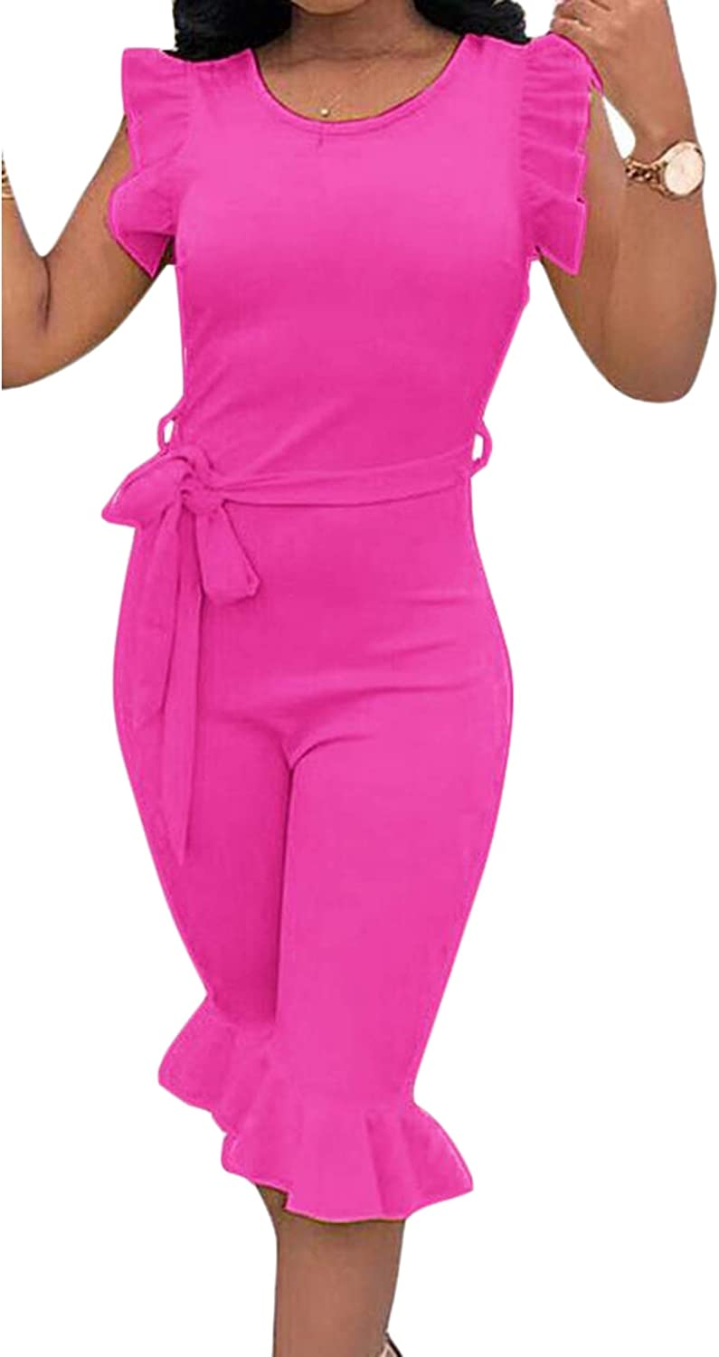 Cromoncent Womens Casual Peplum Sleeveless Club Short Jumpsuits Rompers