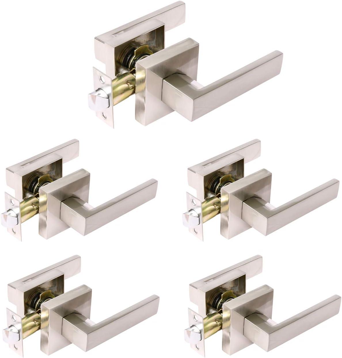 10 Pcs Heavy Duty Keyed Entry Door Knobs Door Lock Set Satin Nickel Finish Entrance Lever with Different Keys for Front//Exterior Doors