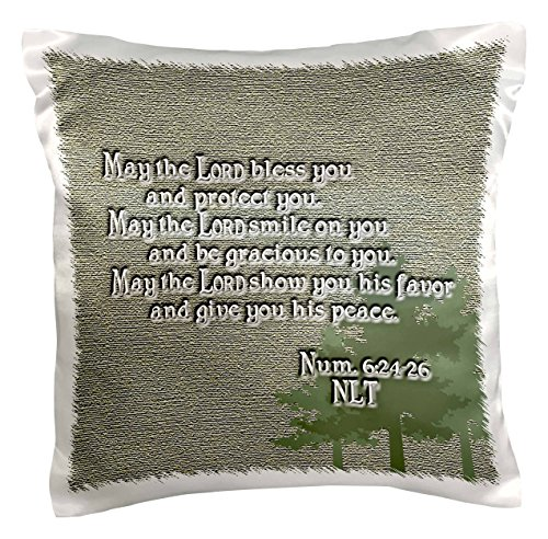 3dRose pc_22340_1 Aaron's Blessing Numbers 6 24 26 Bible verse-Pillow Case, 16 by 16″