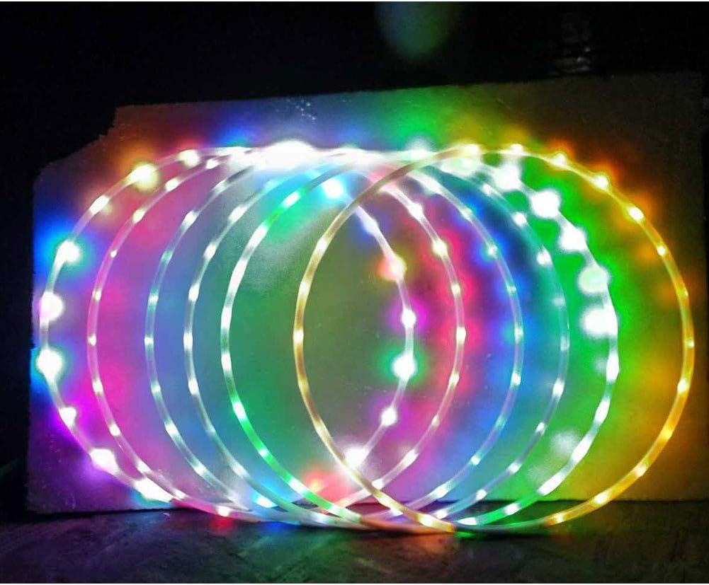 yuzhiyu Multicolor Hula Glitter Hoop Fitness Juego de Ejercicios LED Hoolas Aros para Deportes Jugar Ejercicio y Fitness Profesional