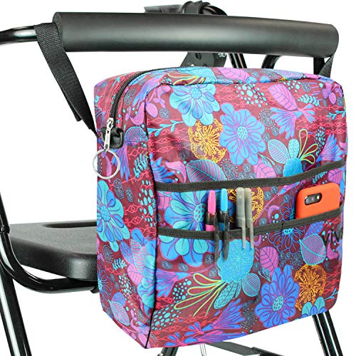 (Vive Rollator Bag - Universal Travel Tote for Carrying Accessories on Wheelchair, Rolling Walkers & Transport Chairs - Lightweight Laptop Basket for Handicap, Disabled Medical Mobility Aid, Purple)