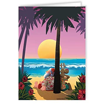 Amazon Com Tropical Sunset Christmas Card Beach 18 Cards And