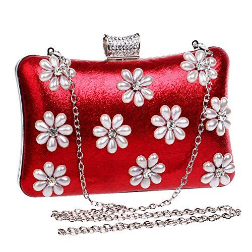 GXYCP Dinner Wedding Evening Gold Party Bag Clutch Shoulder Flower Women Handbag Silver r4pxArq