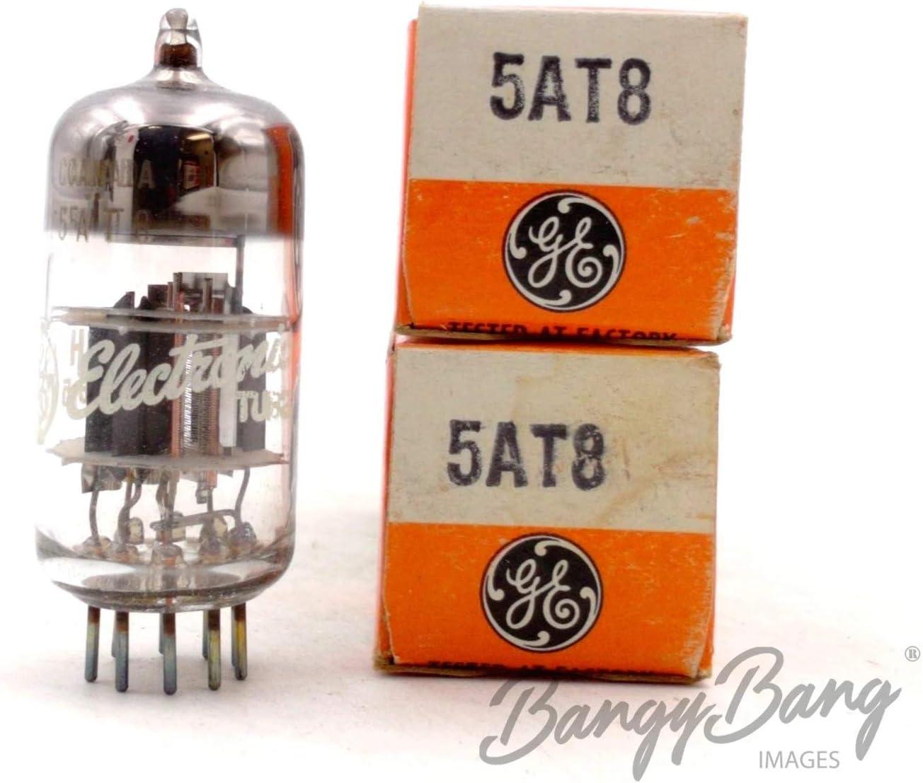 2 Vintage General Electric 5AT8 Triode Pentode VHF Mixer Television Valve- BangyBang Tubes
