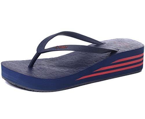 85870555 OPIYNO Women Casual Navy Blue EVA Mid Platform Sandals Beach Wedge Thong Flip  Flops 5.5M