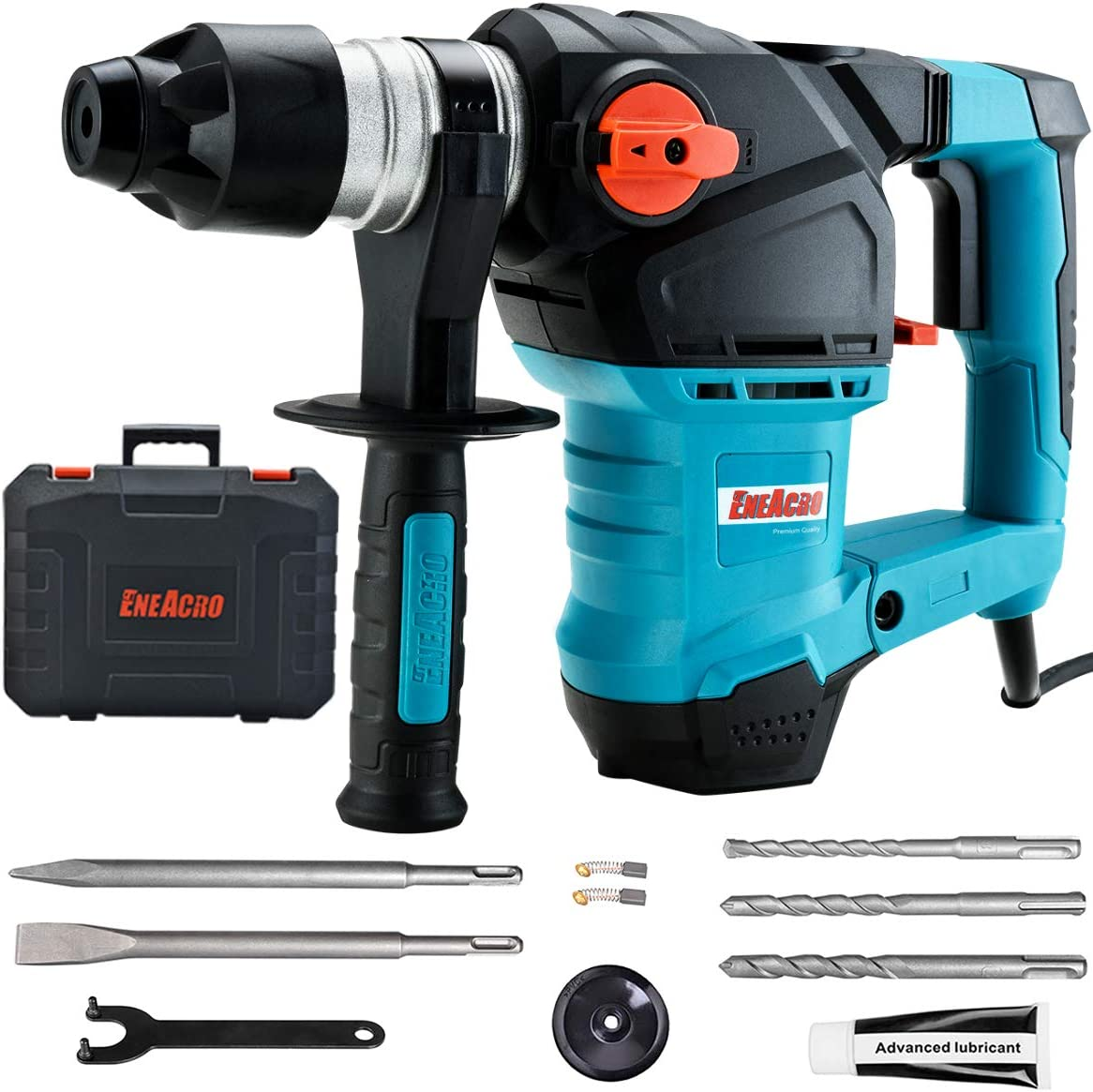 ENEACRO 1-1 4 Inch SDS-Plus 12.5 Amp Heavy Duty Rotary Hammer Drill, Safety Clutch 3 Functions with Vibration Control Including Grease, Chisels and Drill Bits with Case