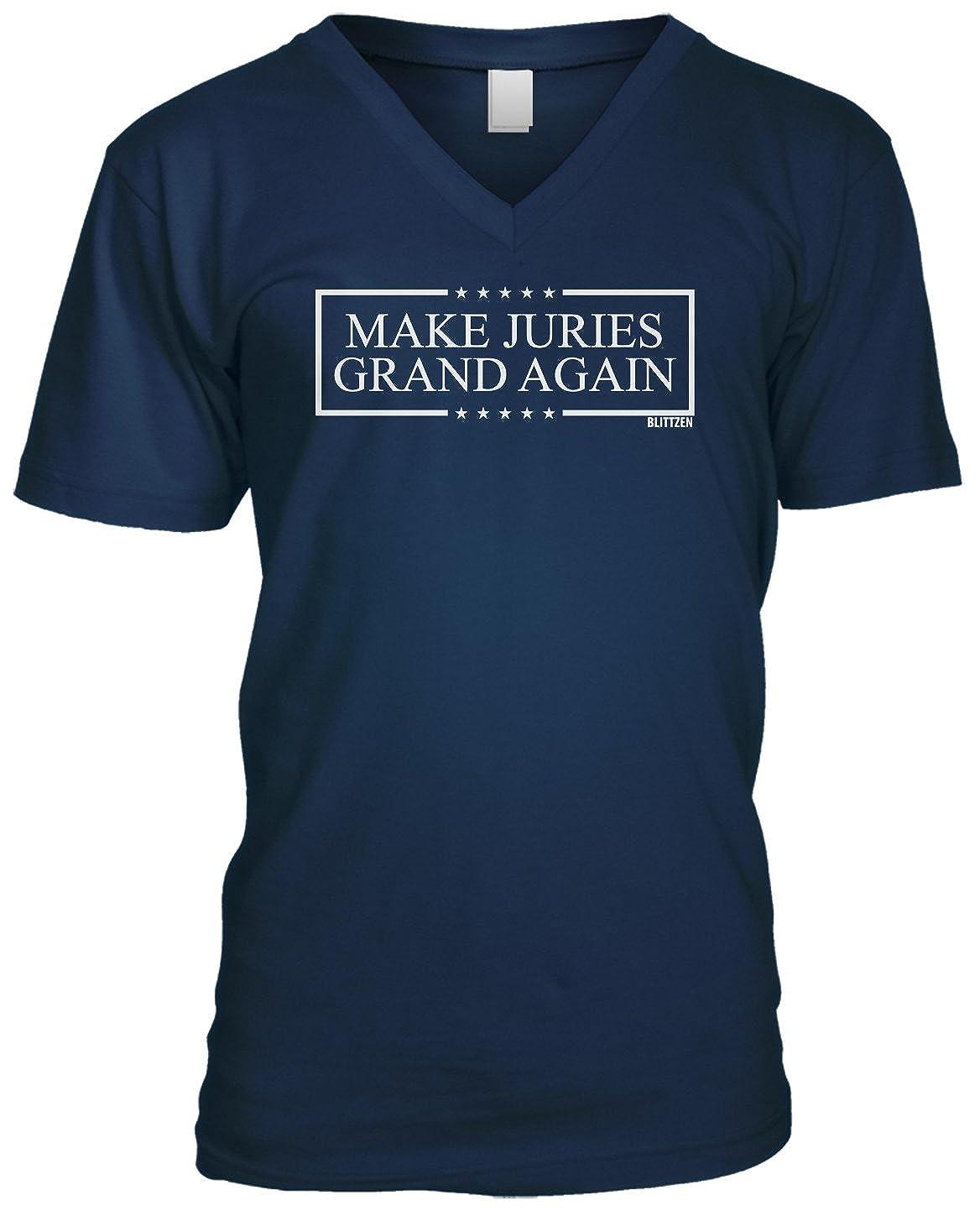 Blittzen Mens V-neck T-shirt Make Juries Grand Again