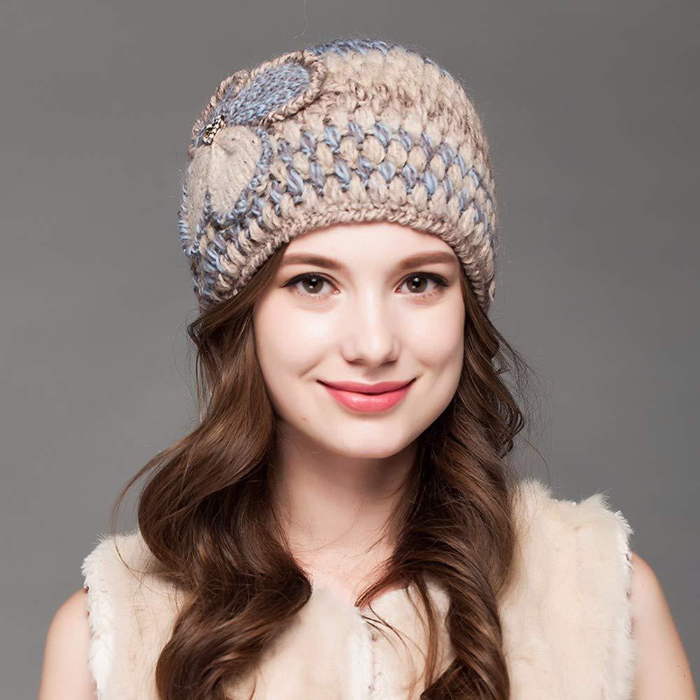 e2b7aab79 RangYR Sombreros Ladies  Invierno Gorros de Punto de de de Punto de Lana  Tejidos a