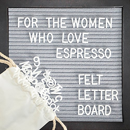 elt Espresso LetterBoard 10x10 Inches. Premium Wood Frame Sign Board With Changeable Letter 362 White Plastic Letters, Numbers, Little Bag & Espresso Stand, All In A Gift Box. (Espresso Phone Stand)