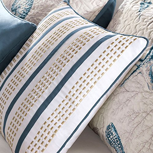 Madison Park Bayside King Size Quilt Bedding Set - Blue, Khaki, Seashells – 6 Piece Bedding Quilt Coverlets – 100% Cotton Sateen Bed Quilts Quilted Coverlet by Madison Park (Image #3)