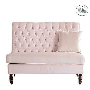 Amazon.com: Eight24hours Velvet Modern Tufted Settee Bench ...
