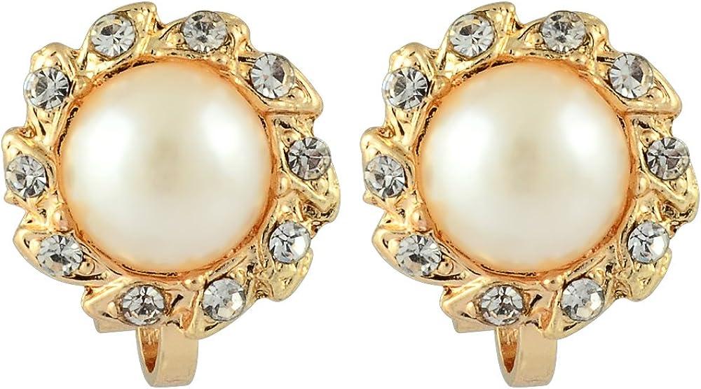 RIZILIA Sol Clip en Pendientes con Corte Redondo Cristal y Crema de perlas de marfil[2 Colores disponibles] en 18K Gold Plated, Elegancia Moderna Sencillo