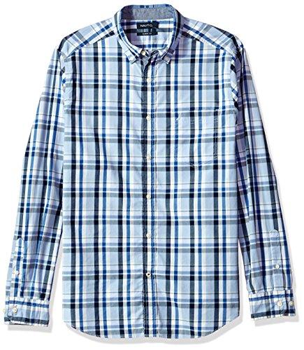 Nautica Men's Standard Long Sleeve Plaid Button Down Shirt, Linen Blue, Medium