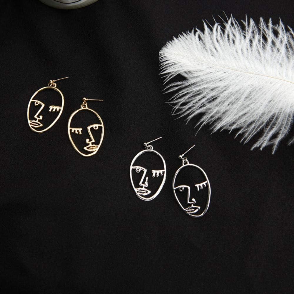 Pendientes Erin E0281 con forma de cara de plata y oro, diseño abstracto, de alambre de cobre fino