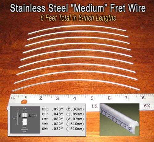 Guitar Fret Wire - Super-durable Stainless Steel Medium Gauge - Six Feet