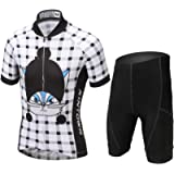 LSERVER Children Boys' Girls' Cycling Jersey Set Short Sleeve with 3D Padded Shorts
