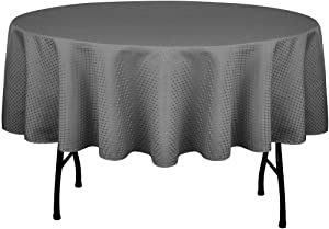 Eforcurtain Modern Geometric Waffle Weave Table Cloth Waterproof Oil Proof, 70 Inch Round Polyester Table Cover Stain Resistant for Dining Room, Charcoal