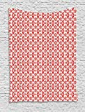 THndjsh Ikat Tapestry, Ethnic Inspirations Geometrical Art Abstract Shapes Mexican Aztec South American, Wall Hanging Bedroom Living Room Dorm, 60 W X 80 L inches, Vermilion White