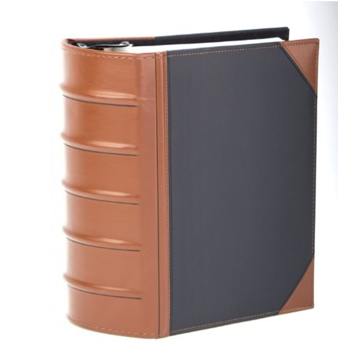 Executive Binder, English Leather 2 Tone with Stitching and Ribbed Spine, Heavy Duty 3'' Inch 3 D-ring with Buster, Holds 625 8.5''x 11'' Sheets (Black)