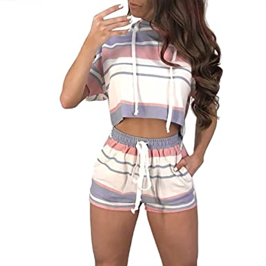 e2df5ed495f Women Short Sleeve Striped Crop Tops Shirt Blouse+Shorts Drawstring Outfit  Set Sports Suit Set