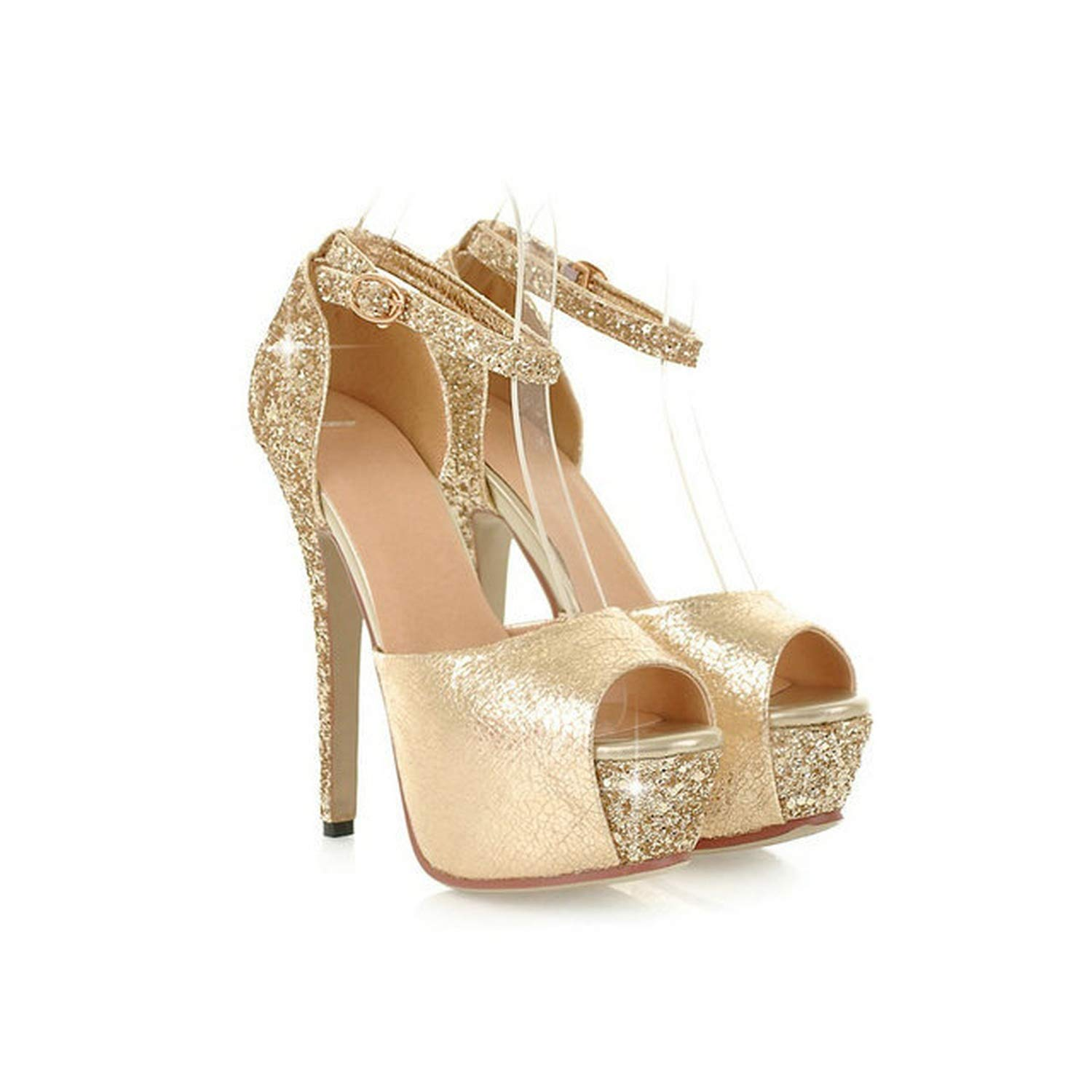 gold Mo Duo Sexy Women Thin high Heels Sandals peep Toe Round Toe Platform Party shoes