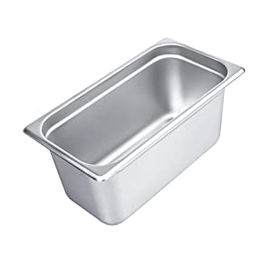 """6"""" Deep Steam Table Pan 1/3 Size, 6.1 Quart Stainless Steel Anti-Jam Standard Weight Hotel GN Food Pans - NSF (12.8""""L x 6.93""""W)"""
