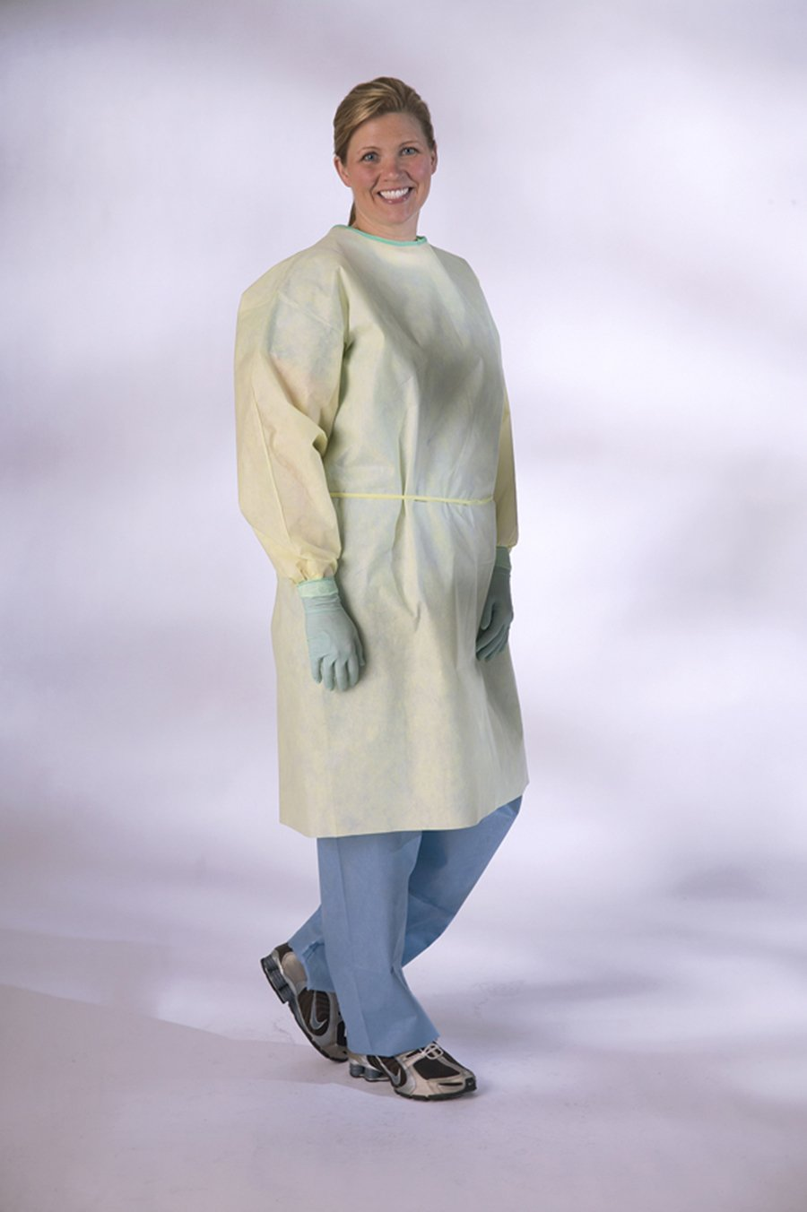 Medline NONLV200 AAMI Level 2 Isolation Gowns, Latex Free, Regular/Large, Yellow (Pack of 100)