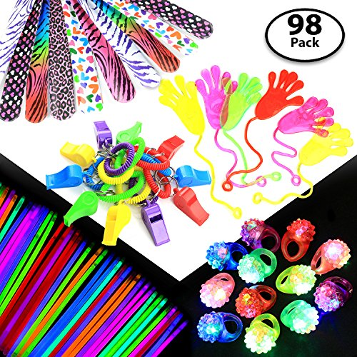 (98-pcs Party Gift Favors Set for Kids – 50x Glow Sticks + 12x Whistles +12x Slap Bands + 12x Flashing Rings - Great Party Prizes for Birthday, Loot Bags, Classrooms, Grab Bags, Doctor Office)