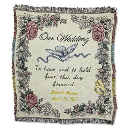 Lillian Vernon Personalized Cotton Wedding Throw - 50