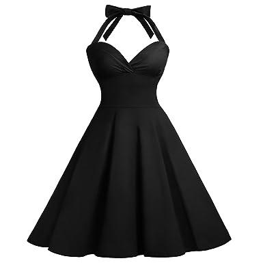 Women Plus Size Vintage 1950s Rockabilly Halter Neck Swing ...