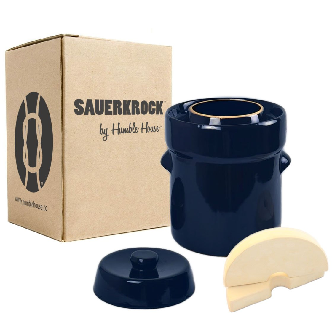 """Humble House Fermentation Crock German-Style SAUERKROCK""""City"""" 2 Liter (0.5 Gallon) Water Sealed Jar, Lid and Weights in Imperial Blue - For Fermenting Sauerkaut, Kimchi and Pickles!"""