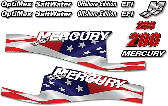 AMR Racing Outboard Engine Graphics Kit Sticker Decal Compatible with Mercury 200 - EFI Flag