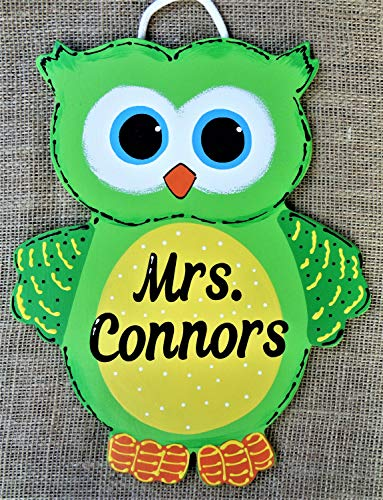 GMK Personalize Owl Teacher Sign Wall Door Plaque School Class Classroom Kids Room Hand Painted Handcrafted Wood Wooden Hanger Decor